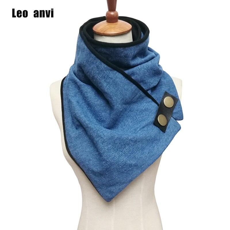 Leo Anvi Newest Designer Unisex Scarf Cotton Denim With Leather Cuff Button Winter Ring Women And Men Fashion Tube Scarf Femme