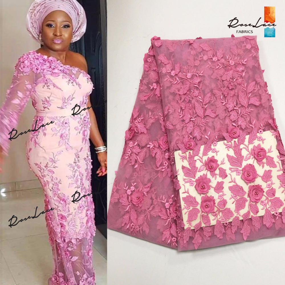 Pink 3D Flower Applique African French Net Lace Fabric Beaded Embroidered  2018 New Nigerian Evening Dresses Guipure Mesh Fabrics-in Lace from Home    Garden ... a18358eb7d85