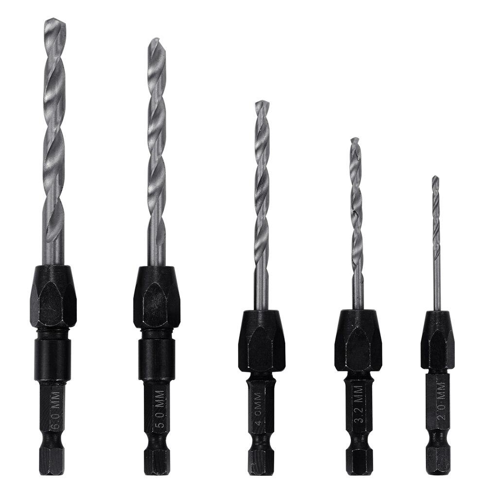 5pcs Wood Countersink Drill Bits Set Twist Drill Bits Quick Change HSS 1/4