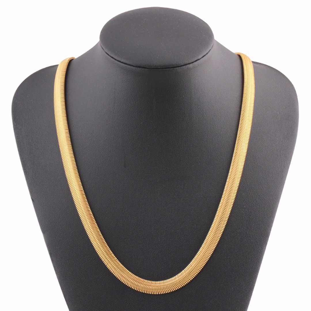 Rock Men Gold Filled Flat Snake Bone Necklace Shellhard Vogue 60cm Long Thick Link Chain Necklace Women Vintage Kolye Jewelry