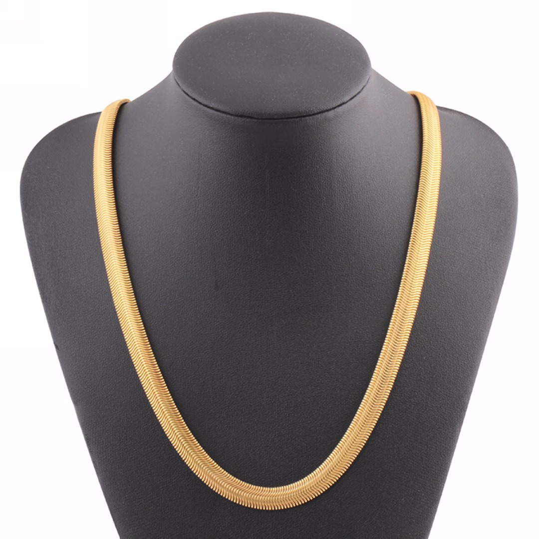 UK 18K GOLD FILLED 26 INCH 1MM SNAKE NECKLACE CHAIN GRADE AAA High Polished