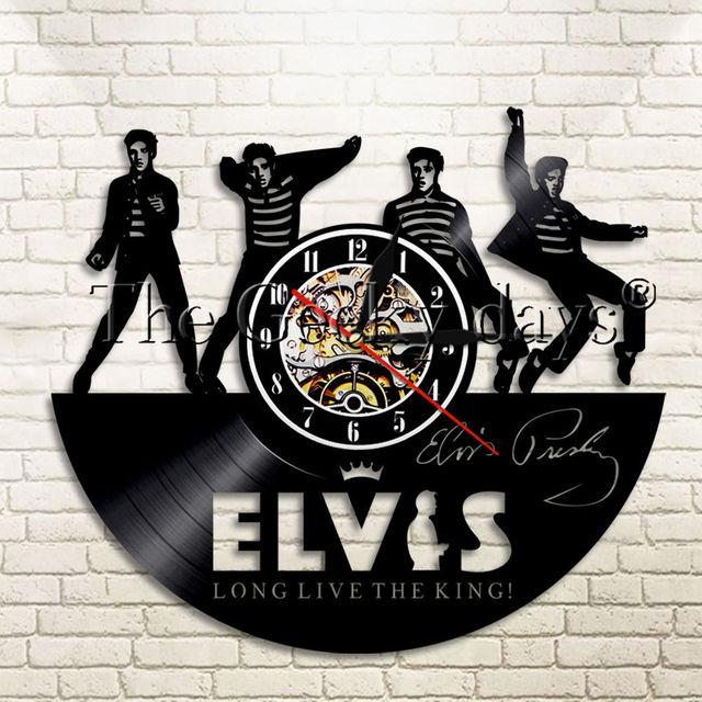 1Piece Elvis Presley Retro Pop Star Vinyl Record Wall Clock Rock N Roll Home Decor Watch Music Creative Timepiece