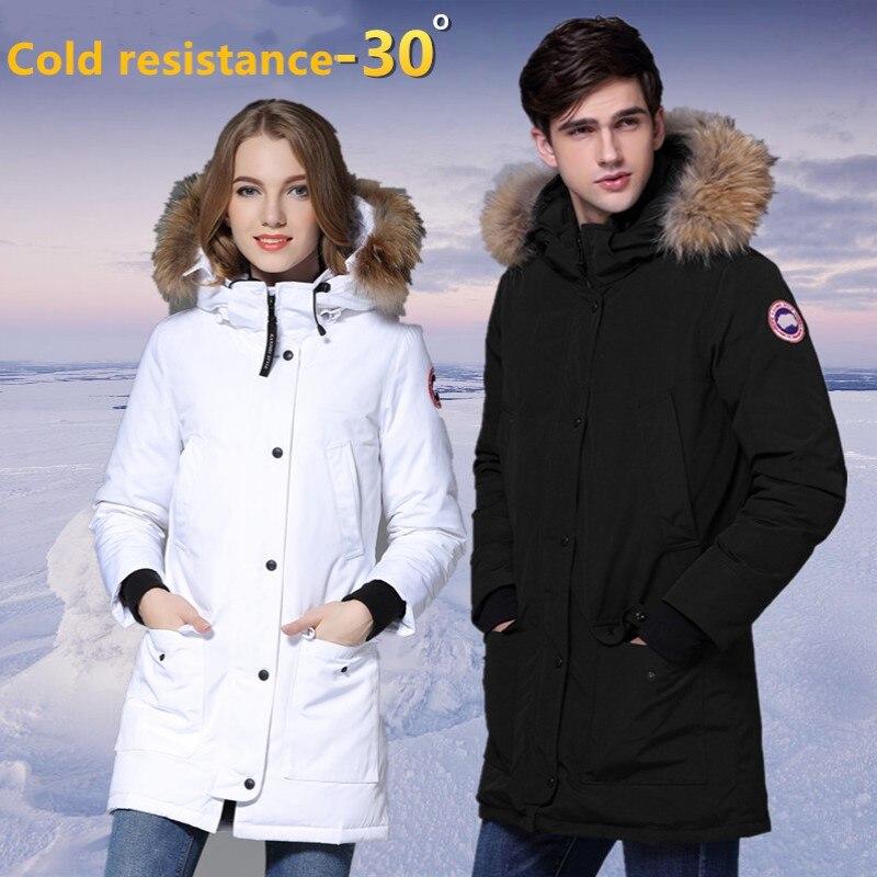 New Arrive Lovers Winter Brand Parka Medium Length White Duck Down Jacket Raccoon Fur Women Quality