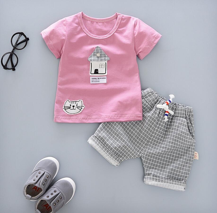2017 Baby Clothes Summer Newborn Baby Clothes Set Cotton Clothing Suit (Shirt+Pants) Cartoon Infant Cat Clothes Set HW1048