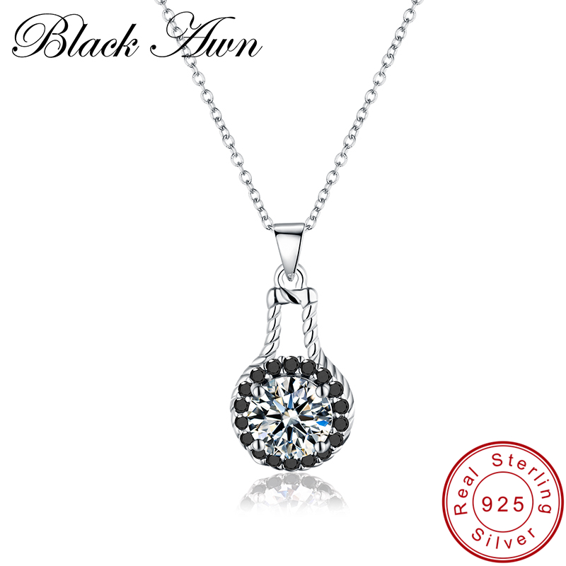 [BLACK AWN] 925 Sterling Silver Necklace For Women Cute Female Bijoux Sterling Silver Jewelry Pendants Gift P015