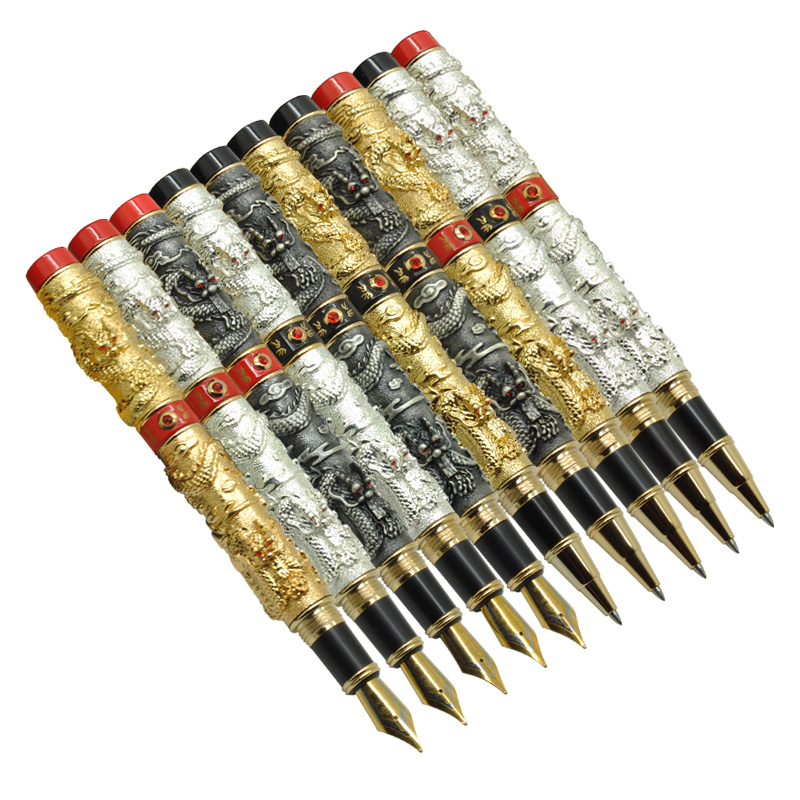 0.7mm Rollerball Pen Jinhao 1pc Chinese Traditional Double Dragon Black Ink Refill Business Gift Pens School Office Supplies jinhao rare golden double dragon pattern roller ball pen luxury stationery school office supplies brand writing gift pens