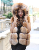 Top Fashion Womens Perfect Finest Natural red Fox fur Vest waistcoat With a Hood , BRAND FUR BOUTIQUE SUPPLIER