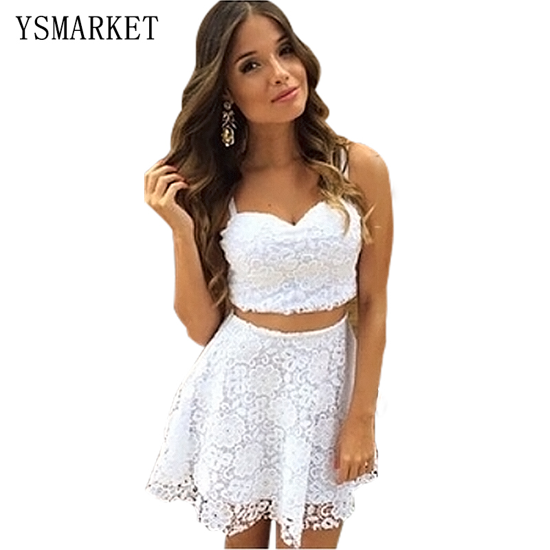 White A Line Summer Sexy Women 2 Two Piece Lace Dress