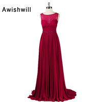 Real Photo Modest Formal Dresses for Women Sleeveless Beadings Ruched Chiffon Elegant Long Evening Gown Mother Party Dress