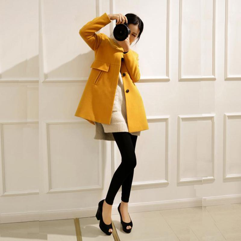 Image 3 - Plus Size Korean Coat Yellow Medium Long Black New 2019 Spring Autumn  Long Sleeved O neck Wool Coat Women Loose A aline CasacosWool & Blends   -