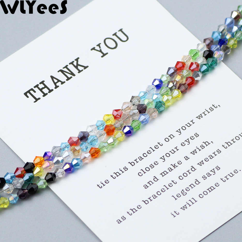 WLYeeS 3mm 200pcs Austrian Bicone crystals beads DIY Jewelry Necklace Accessories Making Multicolor Faceted Glass Spacer Beads