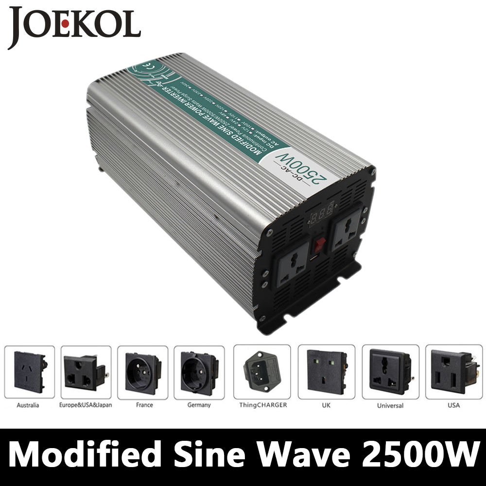 Full Power 2500W Modified Sine Wave Inverter,DC 12V/24V/48V To AC 110V/220V,off Grid Power Inverter Work With Solar Battery smart inverter charger 2500w modified sine wave inverter clm2500a dc 12v 24v 48v to ac 110v 220v 2500w surge power 5000w