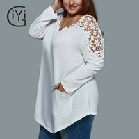 GIYI Plus Size 5xl Sexy White Lace Crochet Spliced Blouse Shirt Women Clothing Long Sleeve Hollow Out Off Shoulder Top Summer