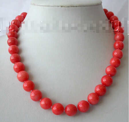 "LL<<< 0156 wholesale Amazing WOW big 10-11MM ROUND natural pink CORAL BEADS necklace 17-18"" W Jewellery Crystal Women"