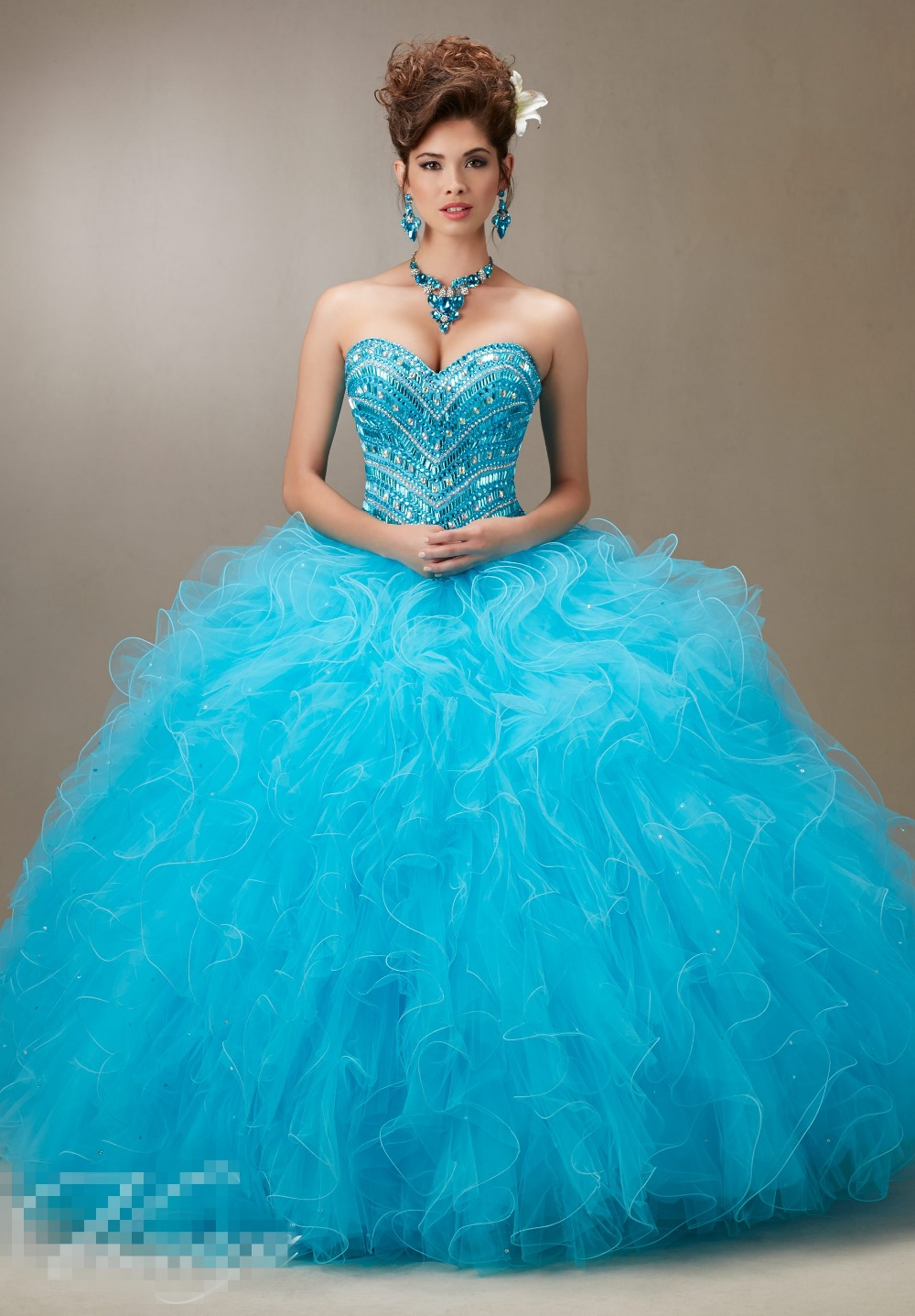 Modest Ruffles Cheap Quinceanera Dresses 2016 Designer Big Crystal ...