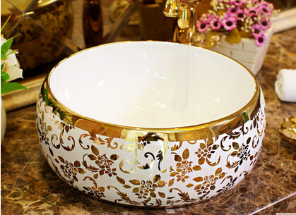The stage basin ceramic lavabo that defend bath lavatory art waist drum golden feather cane