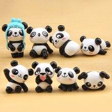 8 pcs/lot Hot Super Cute Panda Action Figures Cartoon Toys girls Anime Christmas party supply for Children Kid Decor Figures