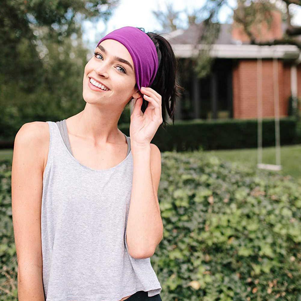 Men Women Sport Yoga Headband Sweatband Stretch Outdoor Elastic Solid Hairband X