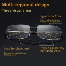 085e1e73d Óculos multifocais progressivas óculos de leitura sem aro homens mulheres  transição matriz lente material de alta