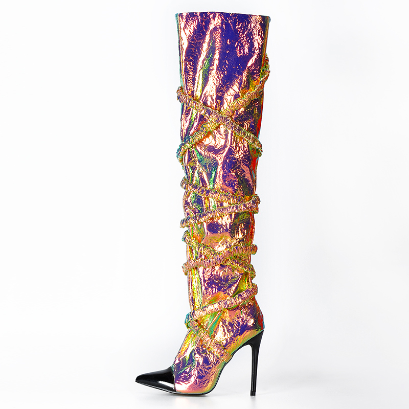Image 2 - Pink Palms Autumn Winter Shoes Women Over The Knee Boots Women Thigh High Heels Pointed Toe Slip On Fashion Sexy Unique Boots-in Over-the-Knee Boots from Shoes