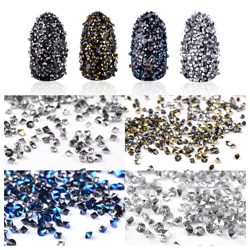 Glitter Micro Rhinestones Sharp End Shiny 3d Tiny Crystal Accessories 1000Pcs/Box Colorful For DIY Manicure Nail Art Decorations