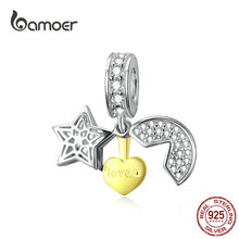 bamoer Moon and Star Pendant Charm for Women 925 Sterling Silver Gold Color Heart Charms for Bracelet or Necklace BSC098