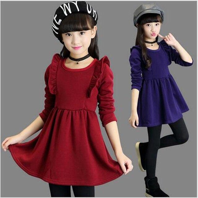 2017 г., зимнее теплое платье для девочек, красивое плотное платье принцессы с длинными рукавами вечерние для выступлений, модное школьное платье для девочек 4, 6, 8, 14 лет