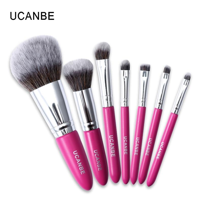 UCANBE Brand 7pcs Easy Carry Short Rose Makeup Brushes High Quality Base Foundation Eyeshadow Flat Contour Make Up Brushes Kit