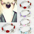 Kawaii Fashion Harajuku 100% Handcrafted Cosplay Choker Long Spiked Collar Rose Flower Heart Lock Key Clear Transparent Necklace
