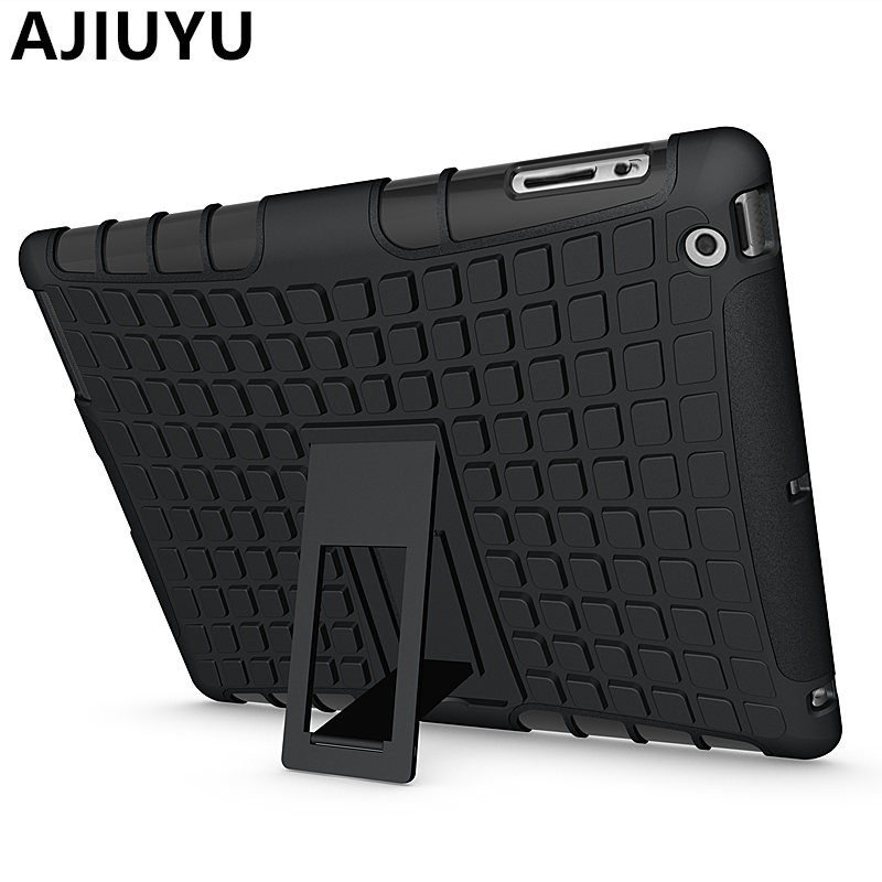 AJIUYU For iPad4 iPad3 Case iPad 2 4 3 iPad2 TPU Armor Shockproof Heavy Duty Silicon PC Cases Stand Smart Cover Protective shell for apple ipad2 ipad3 ipad4 case kids safe armor shockproof heavy duty silicon pc stand back case cover for ipad 2 3 4 tablet pc