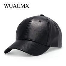 Wuaumx Unisex PU Leather Baseball Caps For Men Women Black Summer Fitted dad Hat Bone Snapback Hip Hop Cap Gorras Casquette fashion solid black pu leather snapbacks for men women spring warm leather hip hop snapback baseball cap women s hat casquette