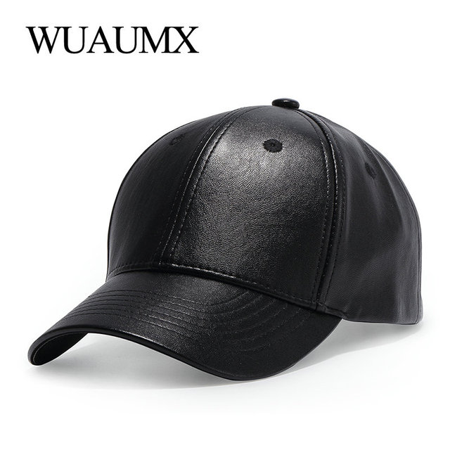 4b03291d147 Wuaumx Unisex PU Leather Baseball Caps For Men Women Black Summer Fitted dad  Hat Bone Snapback Hip Hop Cap Gorras Casquette