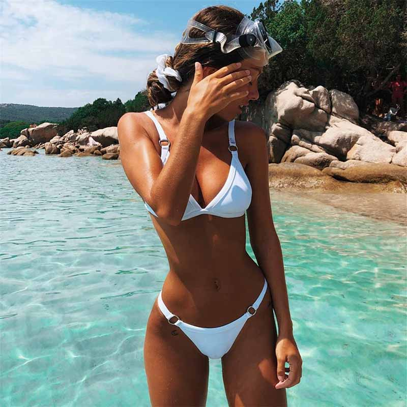 Bikini 2019 Women Sexy Solid Bikini Set High Waist Brazilian Bathing Suit Swimwear Summer Swimsuit Female Yellow Beach Wear Push