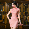 Hot Sale Qipao Evening Dresses Chinese Traditional Dress Silk Satin Short Sleeve Qipao Dresses Party Dress Styles