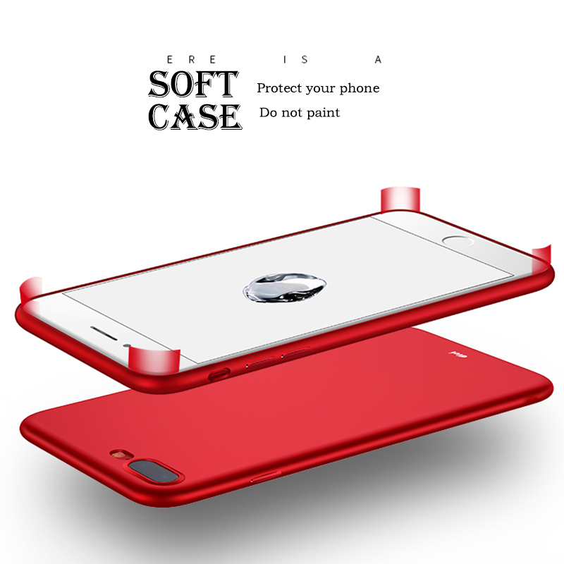 LuckGuard Original Case For iphone 7 Luxury Ultra Thin Brand New Soft Silicone Red Phone Case For iPhone 7 Plus Slim Cover Capa
