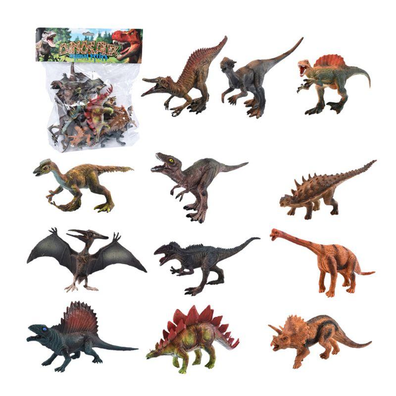 12pcs Lifelike Simulated Solid Dinosaur Model Figures Educational Toy For Kids Boy Children Gift