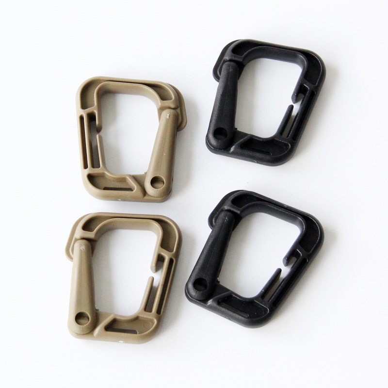 4pcs/lot, Tactical Molle Webbing Tactical Buckle Carabiner Multipurpose D-Ring Locking Outdoor Camping Buckle Snap