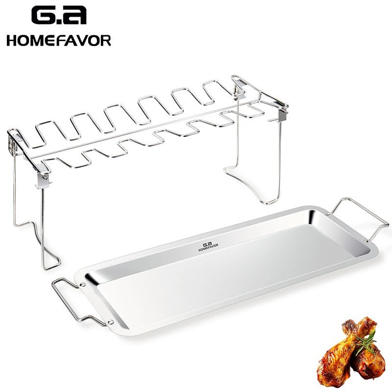 G.a HOMEFAVOR BBQ Chicken Leg Wing Grill Cooking Rack 14 Slots Poultry Roaster Stainless Steel
