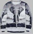 Мода Африканский Слон 3D Печати Толстовка Волк Пуловер Костюм Унисекс Свободные Перемычка Акулы Верхняя Одежда