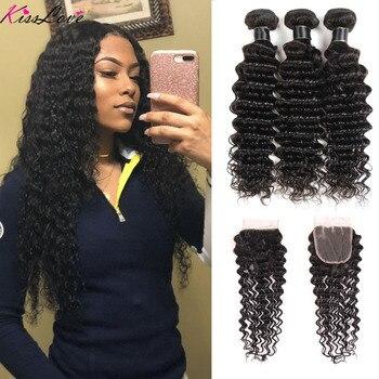 Kiss Love Brazilian Hair Deep Wave Bundles With Closure 100% Human Hair Weave Bundles With Closure 3 Bundles With Lace Closure