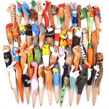 Wood craft pen classical hot selling wood animal pen hand carved wood pen creative stationery ballpoint pen 10pcs/lot