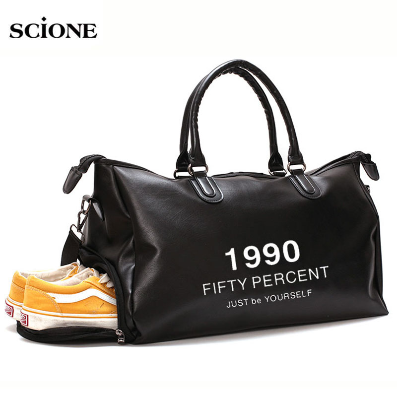 2019 Leather Gym Bag Sports Bags Handbags For Fitness Men Women Training Shoulder Shoes Traveling Sac De Sport Gymtas XA671WA