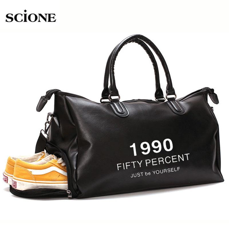 2019 Leather Gym Bag Sports Bags Handbags For Fitness Men Women Training Shoulder Shoes Traveling Sac De Sport Gymtas XA671WA