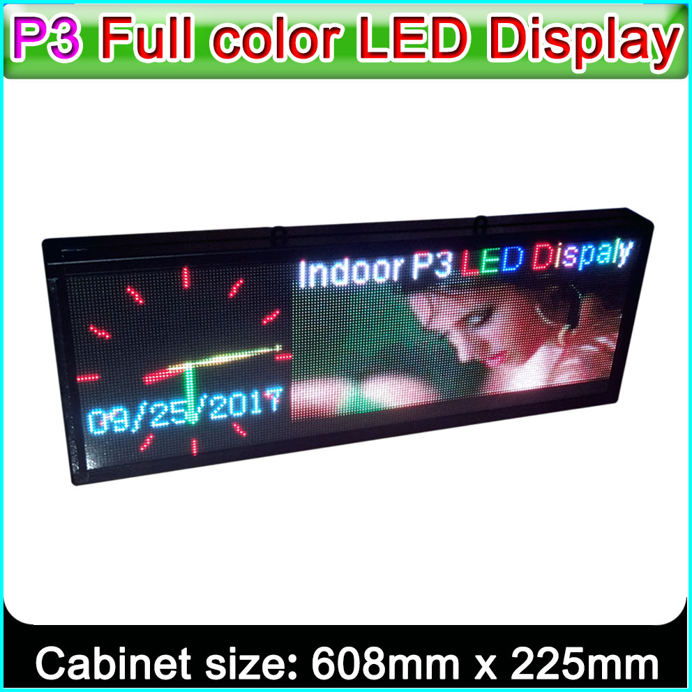 P3 RGB LED display Custom Edition, Indoor full color LED Advertising signs, SMD 2121 P3 LED Module, H8.9 x W24 (64 * 192Pixel)