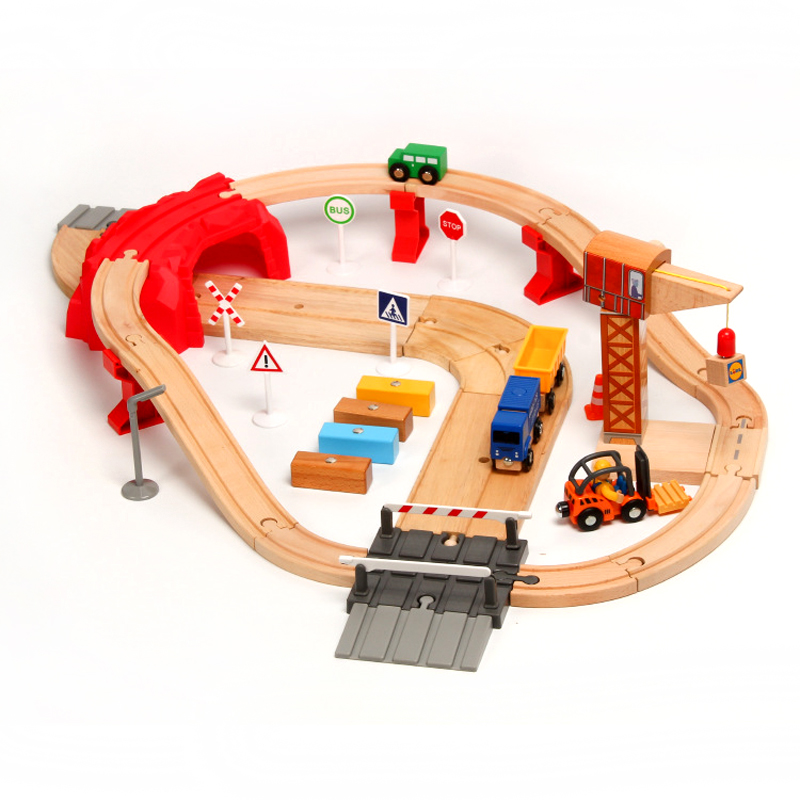 Wooden Thomas Train Track Set Toys Children's Assembled Puzzle Boys and Girls Toys Suitable for Thomas and Brio Wood Tracks