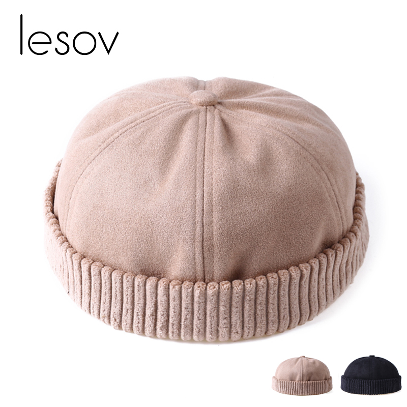 Lesov Men Women Retro Rolled Cuff   Beanie   Skullcap Brimless Cap Autumn Winter Hat Short   Beanies     Skullies   Breathable Worker Hat