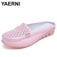 YAERNI Femmes d'été demi pantoufles flip flops Cuir Souple sabots Chaussures Confortable Pantoufles Femme Plus La Taille