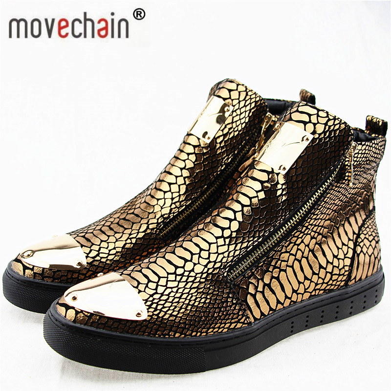 movechain Men s High Top Zipper Casual Flats Shoes Man Snakeskin Grain Genuine Leather Ankle Boots