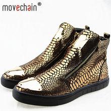 5d2e4320 Movechain altos de los hombres cremallera Casual pisos zapatos de hombre de  piel de serpiente de cuero genuino del grano del tob.