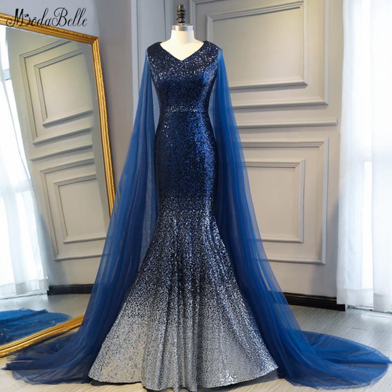 modabelle Navy Blue Mermaid Sequin   Evening     Dress   With Cape Vestido Largo Sirena Plus Size   Evening   Gowns Robe De Soiree Dubai